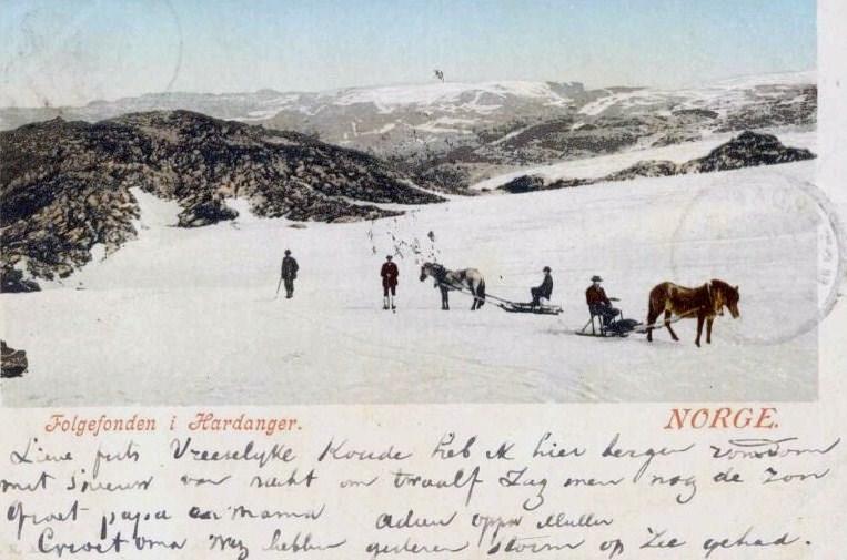 Postkort: Med hest og slede over Folgefonna